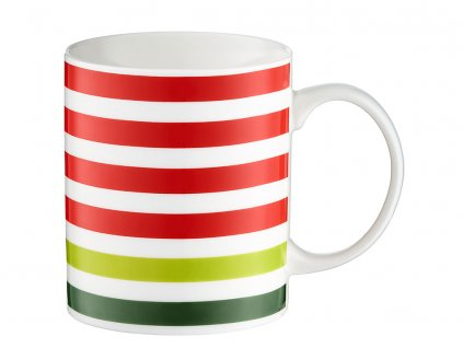 Porcelánový hrnek Juicy Red & Green Stripes 350 ml DOMOTTI