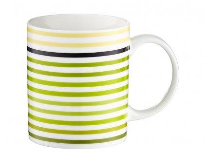 Porcelánový hrnek Juicy White & Green Stripes 350 ml DOMOTTI