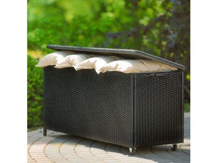 Zahradní box z technorattanu Black 129 x 50 x 62 cm PATIO