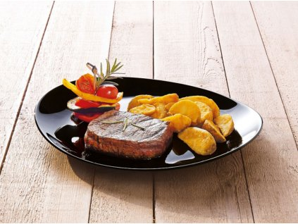 Mělký talíř Steak Friends Time Black 30 x 26 cm LUMINARC