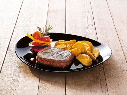 Mělký talíř Steak Friends Time Black 30 x 26 cm LUMINARC