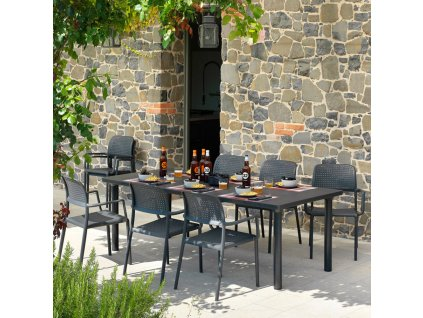 Rozkládací zahradní stůl Libeccio Antracite 100 x 160/220 x 74 cm NARDI