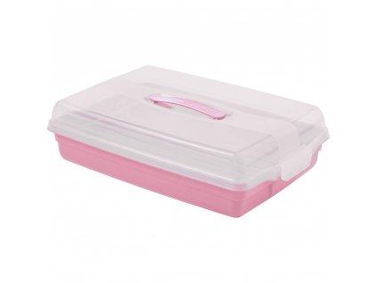 Nádobka na koláč s víkem Pink 45 x 29,5 x 11 cm CURVER
