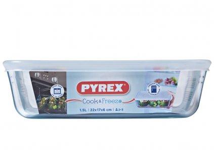 Žáruvzdorná nádobka s víkem Cook & Freeze 22 x 17 cm 1,5 l PYREX