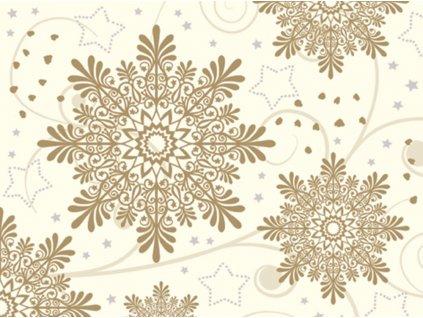 Sada 20 Vánočních ubrousků Brown Snowflakes 33 x 33 cm