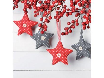 Sada 20 Vánočních ubrousků Stars 33 x 33 cm