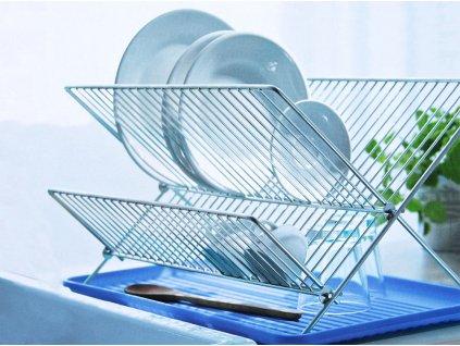 Odkapávač na nádobí s modrým tácem 46 x 35 x 27,5 cm