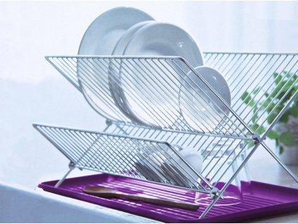 Odkapávač na nádobí s fialovým tácem 46 x 35 x 27,5 cm