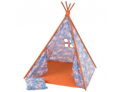 Dětský stan Týpí s polštářem a podložkou L065-13BW 104 x 104 x 124 cm PATIO