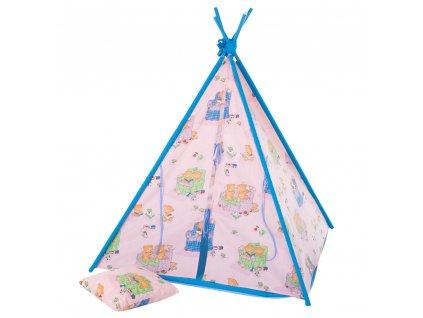 Dětský stan Týpí s polštářem a podložkou L069-11BW 104 x 104 x 124 cm PATIO