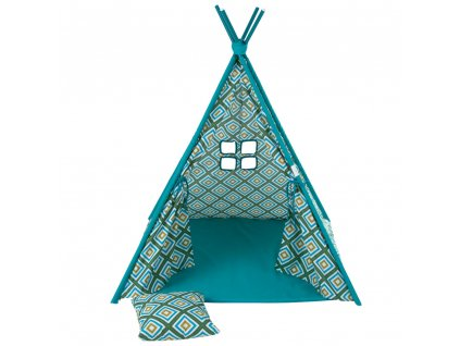 Dětský stan Týpí s polštářem a podložkou L068-21PB 104 x 104 x 124 cm PATIO