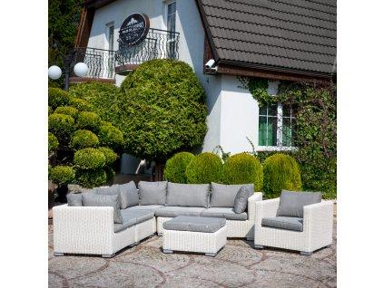 Souprava zahradního nábytku z technorattanu Dorothee White PATIO