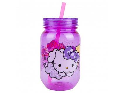Plastová nádobka s víčkem a slámkou Hello Kitty 560 ml DISNEY