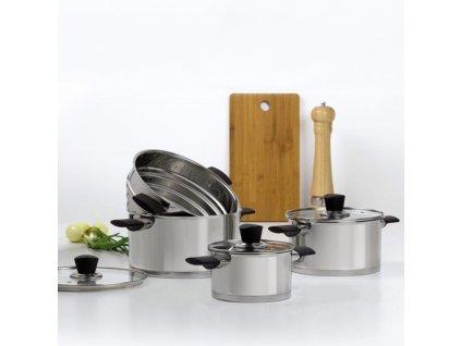 Set nerezových hrnců s vložkou pro vaření v páře Inox 7-dílů AMBITION