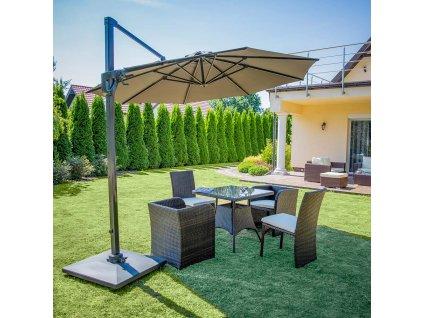 Hliníkový zahradní slunečník Verano Antracit 3,5 m PATIO