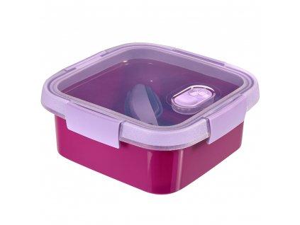 Nádobka s příbory To Go Lunch Violet 16 x 16 x 7 cm, 900 ml CURVER