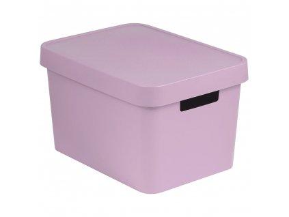 Plastový koš s víkem Infinity Pink 36 x 27 x 22 cm CURVER