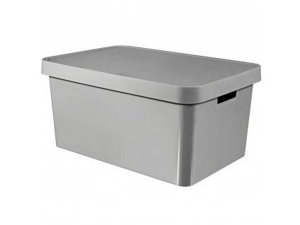 Plastový koš s víkem Infinity Grey 56 x 39 x 27 cm CURVER