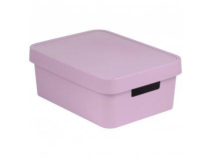 Plastový koš s víkem Infinity Pink 36 x 27 x 14 cm CURVER