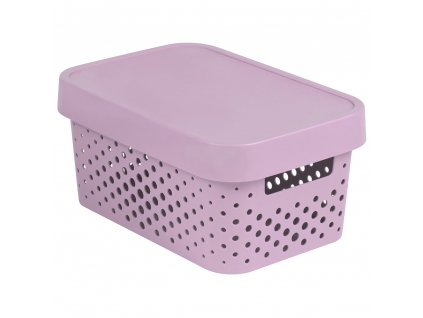 Ažurový plastový koš s víkem Infinity Pink 27 x 19 x 12 cm CURVER