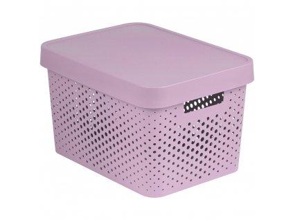 Ažurový plastový koš s víkem Infinity Pink 36 x 27 x 22 cm CURVER