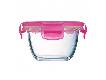 Kulatá skleněná nádobka s víkem Baby Box Pink 200 ml LUMINARC
