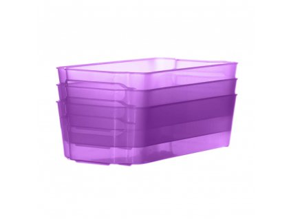 Sada 3 šuplíků do lednice Nati Violet 32 x 16 x 8,5 cm DOMOTTI