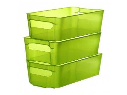 Sada 3 šuplíků do lednice Nati Green 32 x 16 x 8,5 cm DOMOTTI