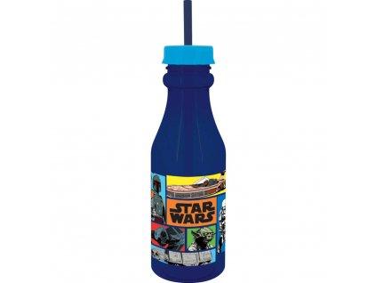 Láhev se slámkou Star Wars Dark Blue 500 ml DISNEY