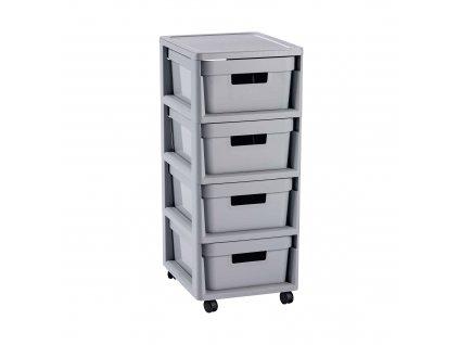 Regál se 4 šuplíky Infinity Grey 30 x 36 x 69 cm CURVER