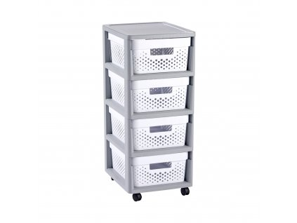 Ažurový regál se 4 šuplíky Infinity Grey / White 30 x 36 x 69 cm CURVER