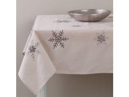 Dekorační ubrus z polyesteru Snowflakes 160 x 280 cm AMBITION