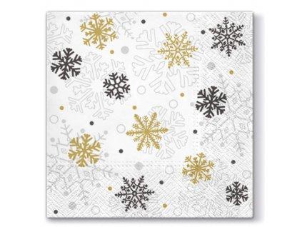 Sada 20 Vánočních ubrousků Xmas Flakes Gold 33 x 33 cm