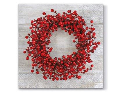 Sada 20 Vánočních ubrousků Red Wreath 33 x 33 cm