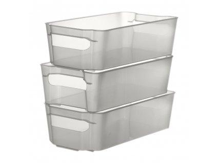 Sada 3 šuplíků do lednice Nati Transparent 32 x 16 x 8,5 cm DOMOTTI