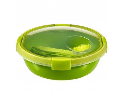 Nádobka s příbory To Go Lunch Green 20 x 9 cm, 1000 ml CURVER