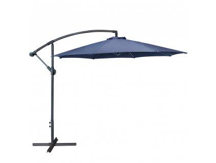 Zahradní ocelový slunečník s boční nohou Dark Blue 3 m PATIO