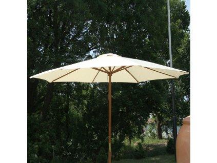 Dřevený zahradní slunečník Poly Ecru 3 m PATIO