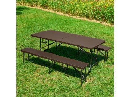 Souprava nábytku z technorattanu 2 x lavice + stůl Catering Wenge PATIO