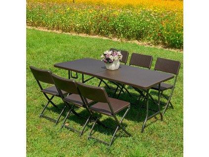 Souprava nábytku z technorattanu 6 x židle + stůl Catering Wenge PATIO
