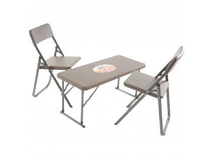 Souprava nábytku z technorattanu 2 x židle + stůl Catering Wenge PATIO