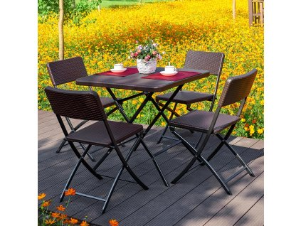 Souprava nábytku z technorattanu 4 x židle + stůl Catering Wenge PATIO