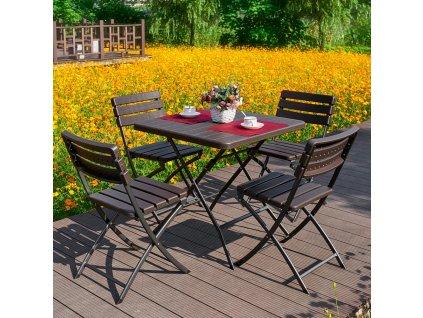 Souprava plastového nábytku 4 x židle + stůl Catering Wenge PATIO