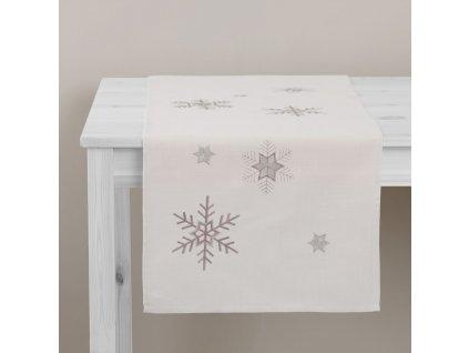 Dekorační běhoun / štola z polyesteru Snowflakes 40 x 150 cm AMBITION
