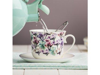 Šálek s podšálkou Garden Mint Flowers 450 ml AMBITION