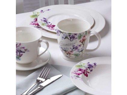 Porcelánový hrnek na stopce Garden Mint Flowers 480 ml AMBITION