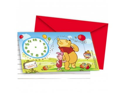 Sada 6 pozvánek s obálkou Medvídek Pú a přátelé DISNEY