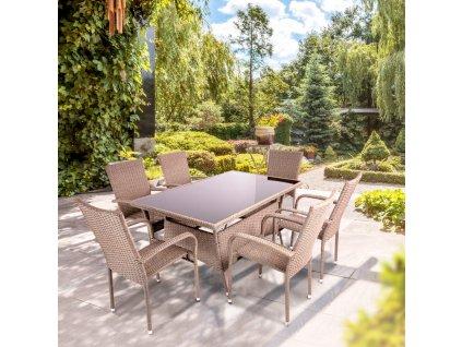 Souprava zahradního nábytku z technorattanu Vanda Cappuccino PATIO