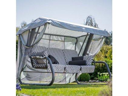 Zahradní houpačka Venezia Lux s moskytiérou, polštářky a bočními stolky H030-06PB PATIO