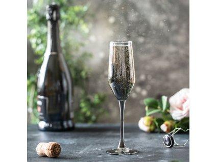 Sada 6 sklenic na šampaňské Celeste Shiny Graphite 160 ml LUMINARC